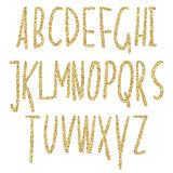 Gold glitter sparkling alphabet. Decorative golden luxury letters . Shiny glam abstract abc.   Goden glitter text good for sale, h Royalty Free Stock Photography