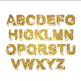 Gold glitter sparkling alphabet. Decorative golden luxury letters . Shiny glam abstract abc. Golden glitter text good for sale, ho. Liday, voucher, shop, present vector illustration