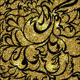 Gold glitter sparkling pattern. Decorative background. Shiny glam abstract texture. Vector Royalty Free Stock Image