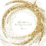 Gold glitter sparkling template. Decorative shimmer background. Shiny glam abstract texture. Sparkle golden confetti backdrop. Lux Stock Image