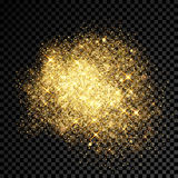 Gold glitter splatter of shining sparkles on vector transparent background. Gold glitter splatter of golden fireworks and shining star particles outburst on Royalty Free Stock Photos