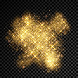 Gold glitter spray effect of sparkling particles on vector transparent background Stock Images