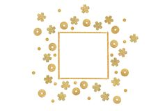 Gold glitter square frame paper cut background. Isolated vector illustration