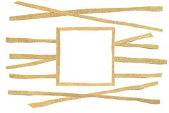 Gold glitter square frame paper cut. On white background - isolated stock illustration