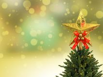 Gold glitter star decoration christmas Royalty Free Stock Images
