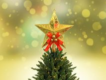 Gold glitter star decoration christmas Royalty Free Stock Photography
