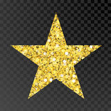 Gold glitter star. Golden sparcle star on black transparent background. Amber particles. Stock Images