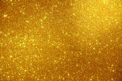 Gold Glitter Stars Sparkle Background - Stock Photo