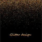 Gold glitter texture on a black background. Golden explosion of confetti. Golden grainy abstract texture on a black. Background. Design element. Vector Stock Images