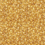 Gold Glitter Texture, Seamless Sequins Pattern. Vector Illustration. Lights and Sparkles. Glowing New Year or Christmas Backdrop. Golden Dust Stock Illustration
