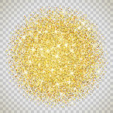 Gold glitter texture with sparkles. Gold glitter texture isolated on transparent background. Vector illustration for golden shimmer background. Sparkle sequin Stock Photography