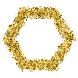 Gold glitter texture vector. Gold frame glitter texture isolated on white. Golden color of winners. Gilded abstract particles. Explosion of confetti shine Stock Images