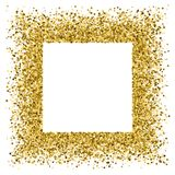 Gold glitter texture vector. Gold frame glitter texture isolated on white. Golden color of winners. Gilded abstract particles. Explosion of confetti shine Stock Photos