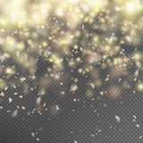 Gold glitter on transparent background. EPS 10. Gold glitter particles on transparent background. Twinkling confetti, shimmering lights. Magic glowing sparkles Stock Image