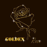 Gold glitter vector contour of a rose Royalty Free Stock Photo