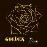 Gold glitter vector contour of a rose Royalty Free Stock Photos