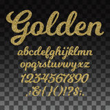 Gold glitter vector font, golden alphabet with lowercase letters, numbers and symbols. Golden abc and signs question exclamation, illustration of golden royalty free illustration