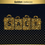 Gold glitter vector icon Stock Images