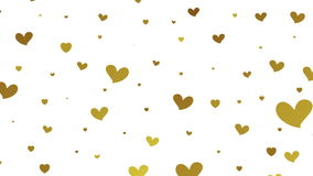 Gold glitter video animation with hearts. Gold glitter graphic motion design with hearts. Video animation Ultra HD 4K clip 3840x2160 stock video footage