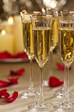 Gold glitter Wedding reception setting Stock Images
