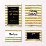 Gold glitter wedding set of invitation, rsvp and thank you card Stock Photography