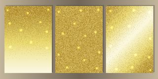 Luxury White Cover Set with Shiny Glitter. Gold glitter on whte background cover set. Luxury abstract A4 template for brochures, banners, greeting cards stock illustration