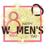 Gold glitter Women's Day.Women's Day Vector. Women's Day Drawing Royalty Free Stock Photo
