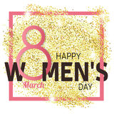 Gold glitter Women's Day.Women's Day Vector. Women's Day Drawing Royalty Free Stock Images