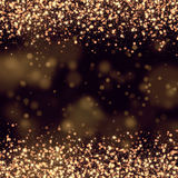 Gold glittering bokeh abstract. Background Stock Photo