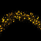 Gold glittering bokeh stars dust tail Royalty Free Stock Photos