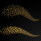 Gold glittering bokeh stars dust tail. Glittering gold smoke tail. Twinkling glitter. Royalty Free Stock Image
