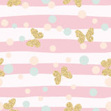 Gold glittering butterflies confetti seamless pattern on pink striped background. Royalty Free Stock Images