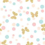 Gold glittering butterflies seamless pattern on pastel colors confetti round dots background. Royalty Free Stock Photos
