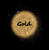 Gold glittering circle Stock Images