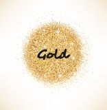 Gold glittering circle on white background Royalty Free Stock Photos