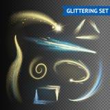 Gold Glittering Elements. Gold sparkling glittering elements on transparent background vector illustration royalty free illustration