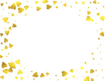 Gold glittering foil hearts on white background. Gold glittering foil hearts horizontal frame on white background, vector isolated design elements Royalty Free Stock Photo