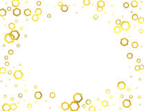 Gold glittering foil hexagons on white background Stock Photos