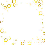 Gold glittering foil hexagons on white background Royalty Free Stock Images