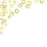 Gold glittering foil hexagons on white background Royalty Free Stock Image