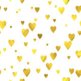 Gold glittering foil seamless pattern. Background with hearts Stock Images