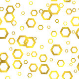 Gold glittering foil seamless pattern. Background with hexagons Stock Photography