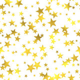 Gold glittering foil seamless pattern. Background with stars Stock Image