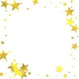Gold glittering foil stars on white background Stock Photos