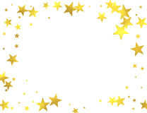 Gold glittering foil stars on white background. Gold glittering frame with foil stars  on white background, vector design elements Stock Photo
