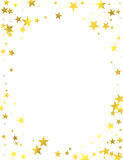 Gold glittering foil stars on white background. Gold glittering frame with foil stars  on white background, vector design elements Stock Images