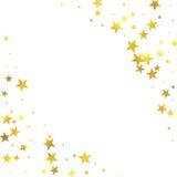 Gold glittering foil stars on white background Stock Photo