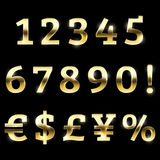 Gold glittering font set currency, numbers and special symbols. Royalty Free Stock Image
