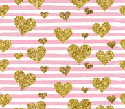 Gold glittering heart confetti seamless pattern. On striped background. Vector illustration Stock Photo