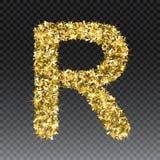 Gold glittering letter R. Vector shining golden font lettering of sparkles on checkered background.  royalty free illustration